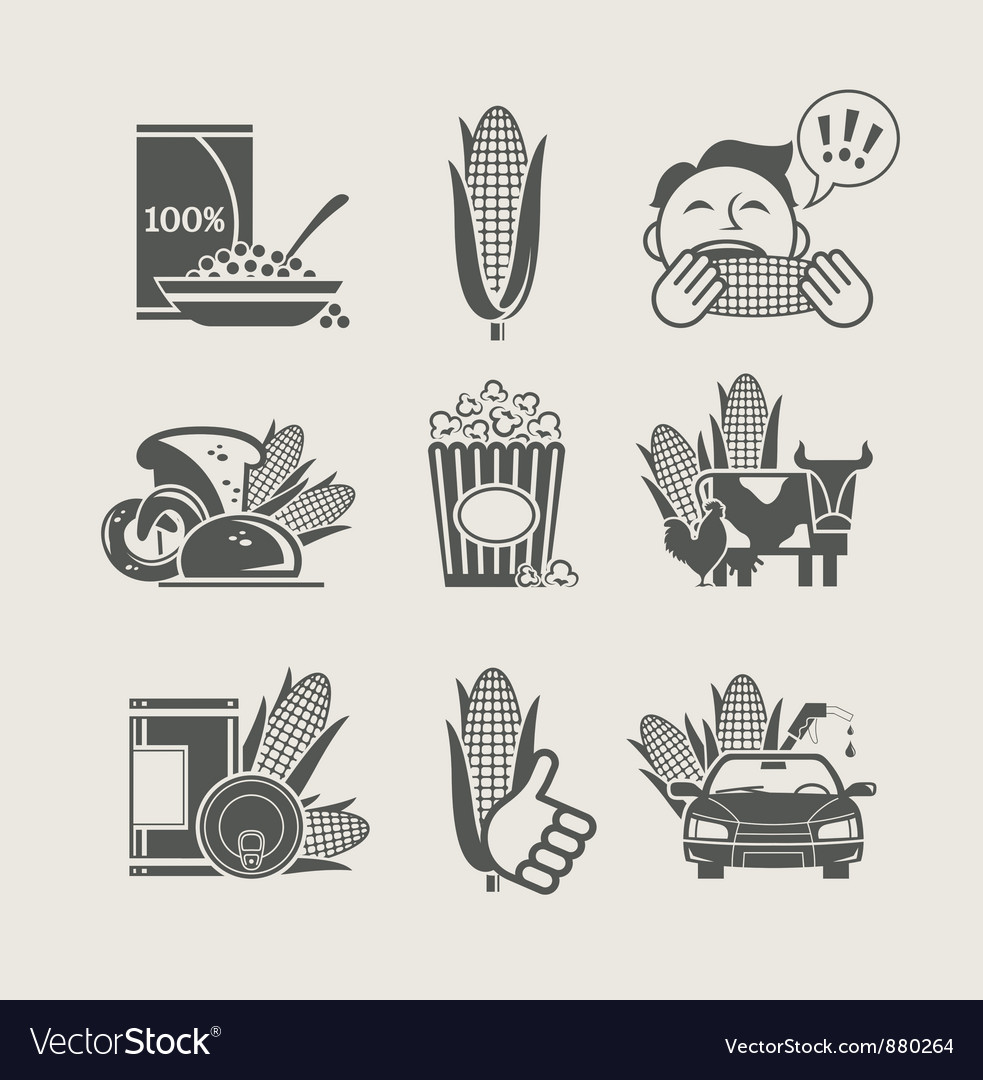 Corn and products set icon vector | Price: 1 Credit (USD $1)