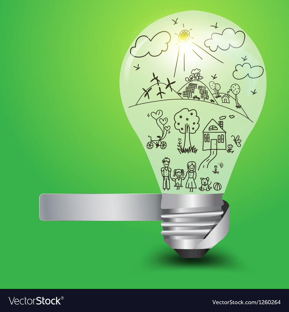 Creative light bulb with happy family and ecology vector | Price: 1 Credit (USD $1)