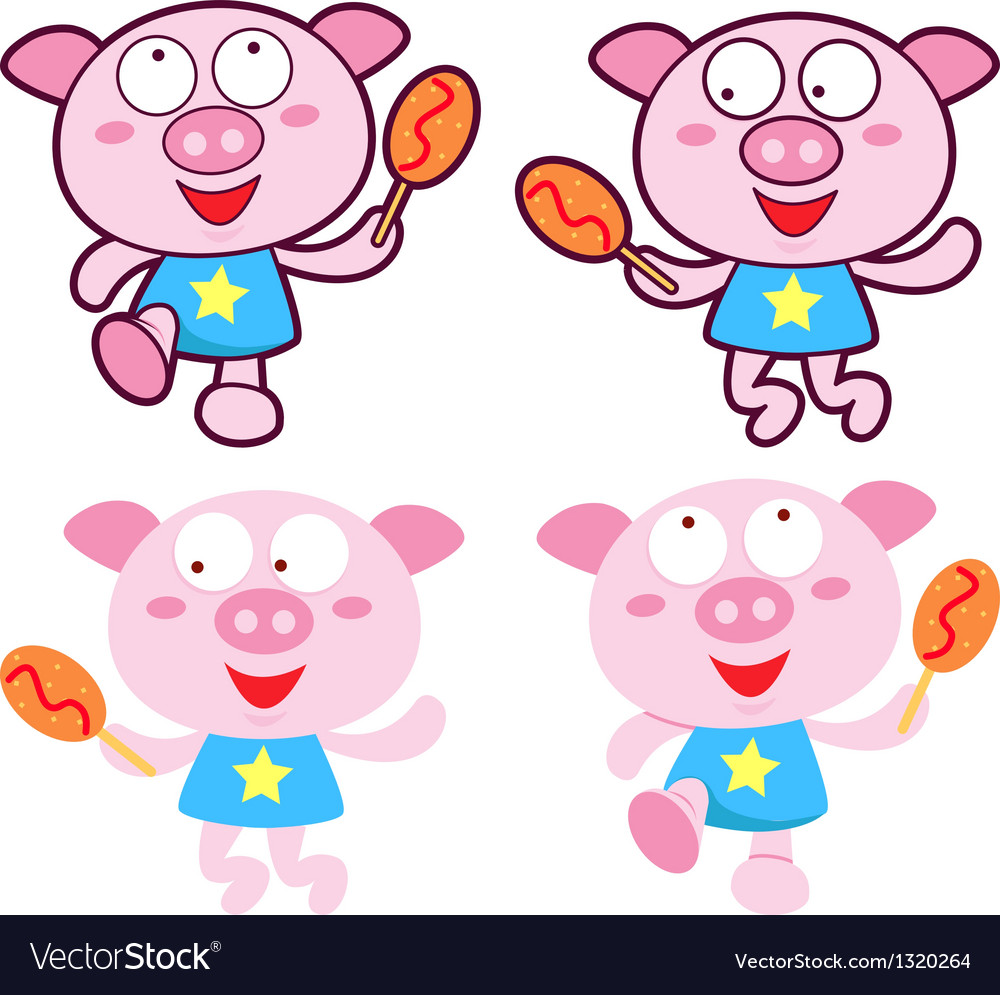 Diverse styles of pig mascot sets vector | Price: 1 Credit (USD $1)