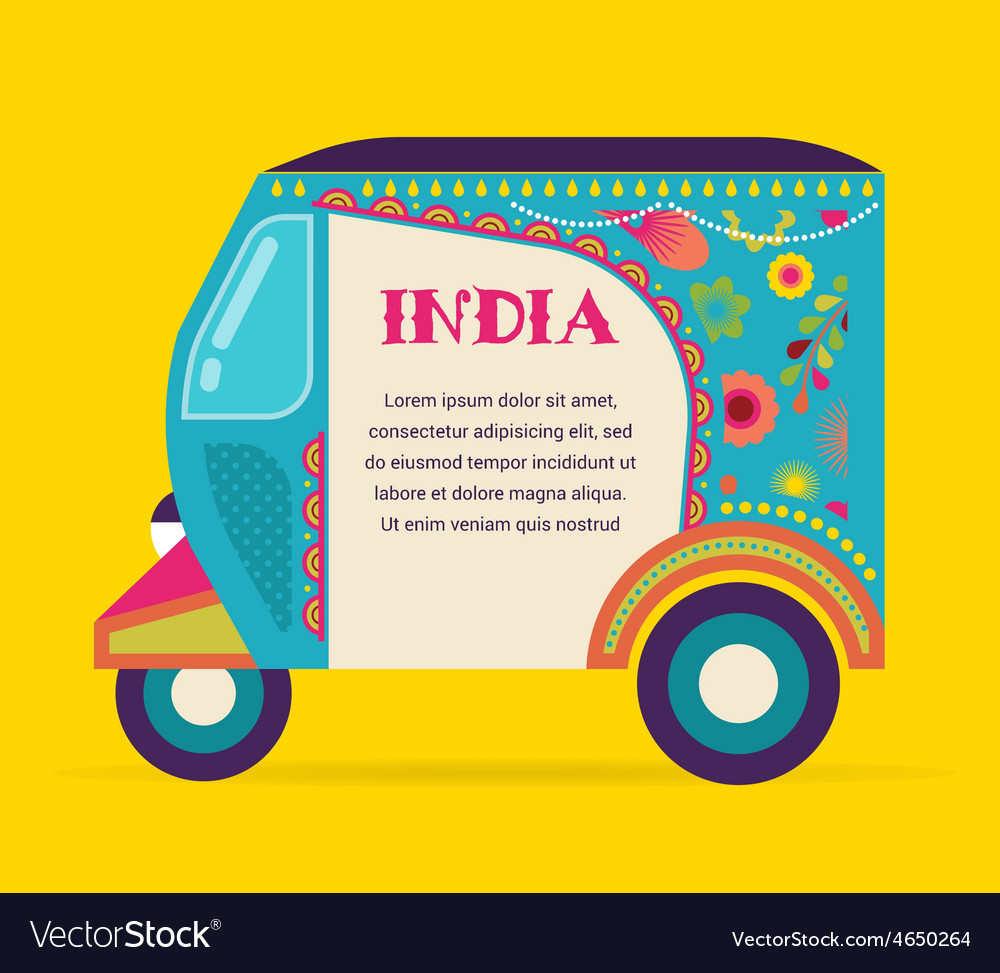 India - background with patterned rickshaw vector | Price: 1 Credit (USD $1)