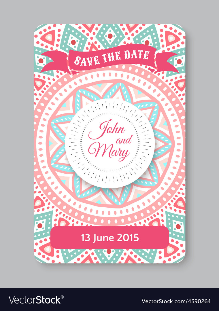 Perfect wedding template with doodles tribal theme vector | Price: 1 Credit (USD $1)