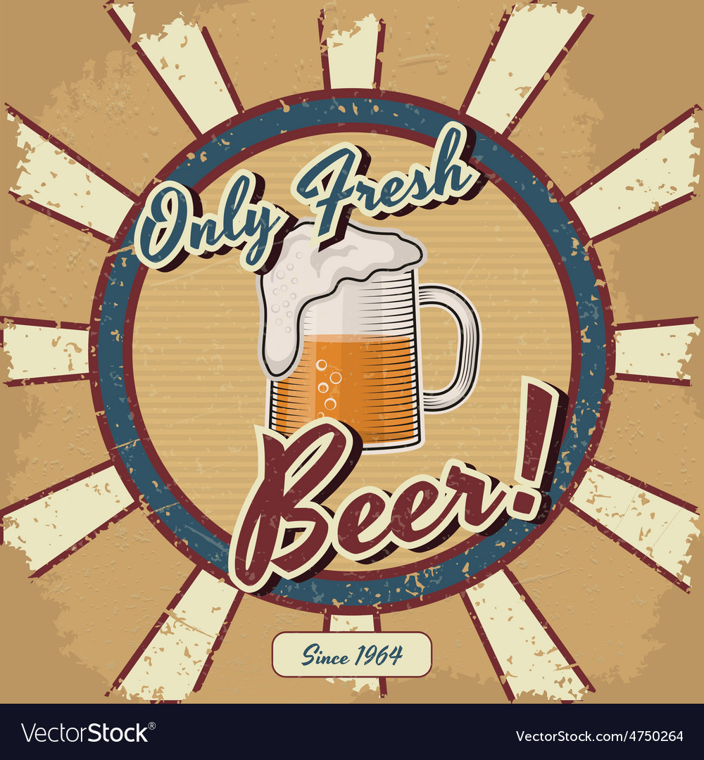 Retro beer poster vintage poster template vector | Price: 1 Credit (USD $1)