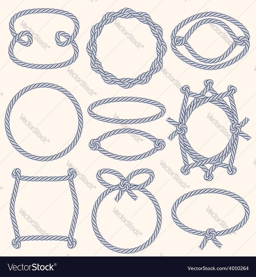 Set of marine rope frames vector | Price: 1 Credit (USD $1)