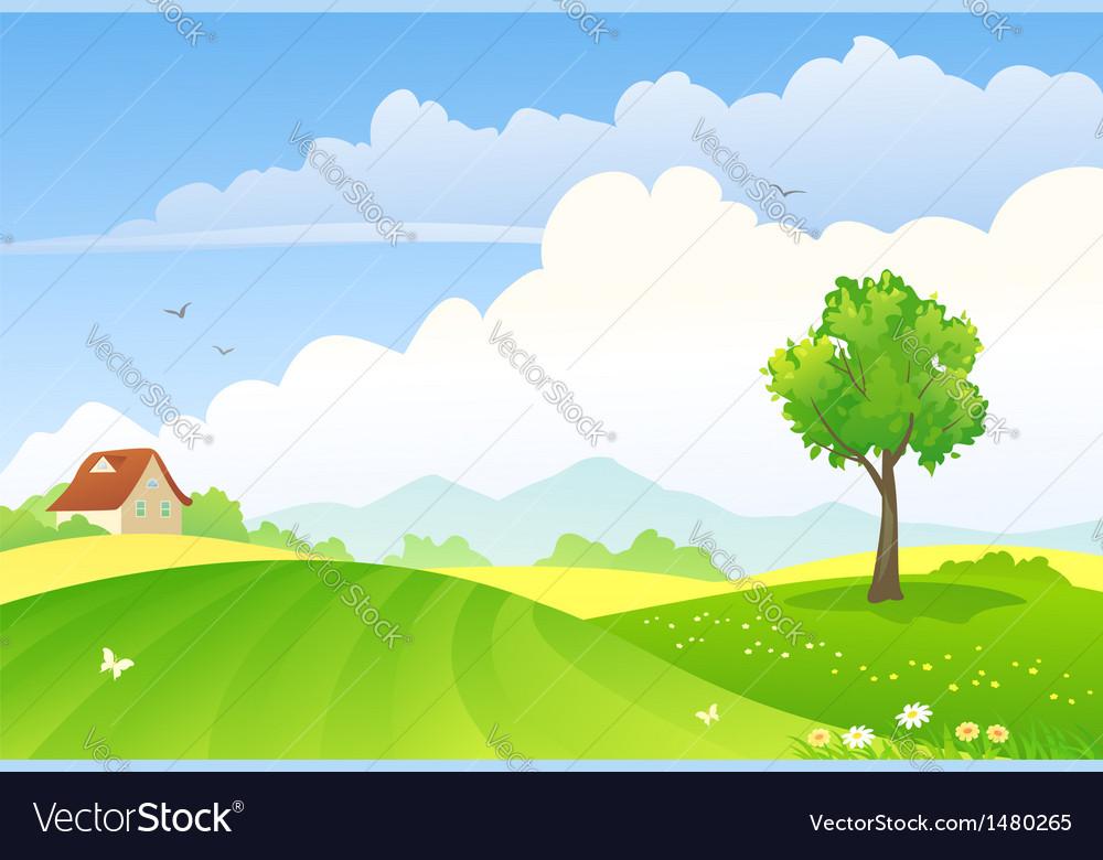 Green fields vector | Price: 3 Credit (USD $3)