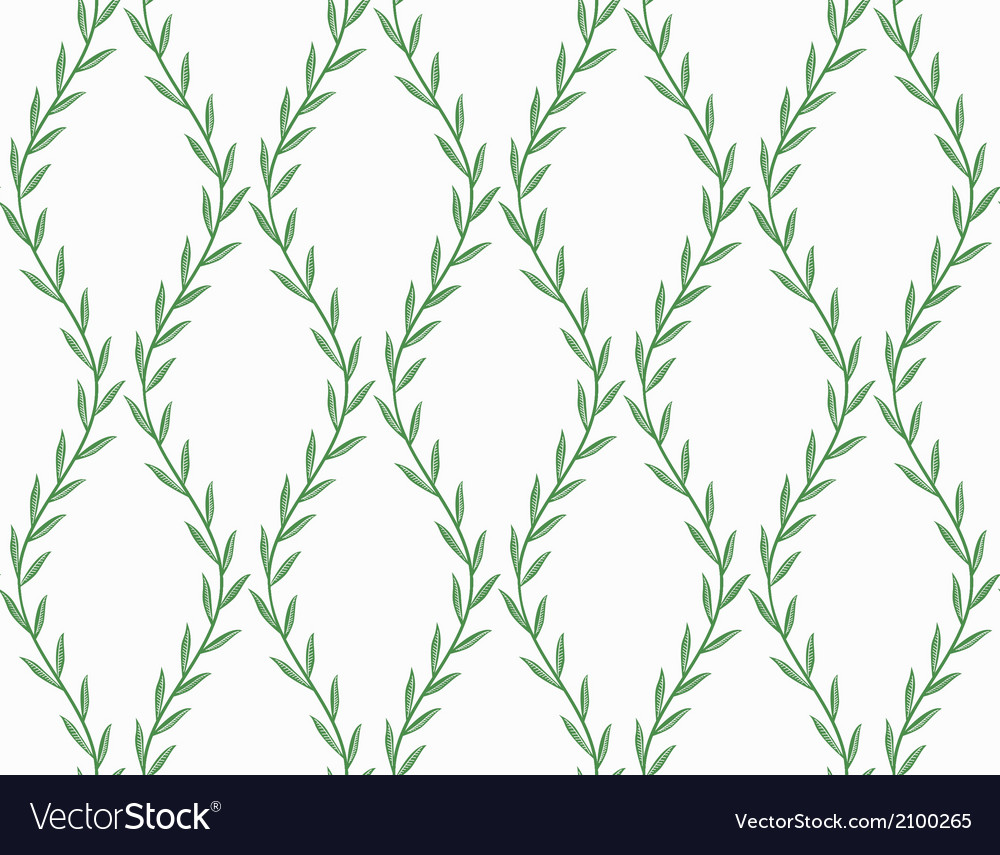 Green floral seamless pattern from leaves on white vector | Price: 1 Credit (USD $1)