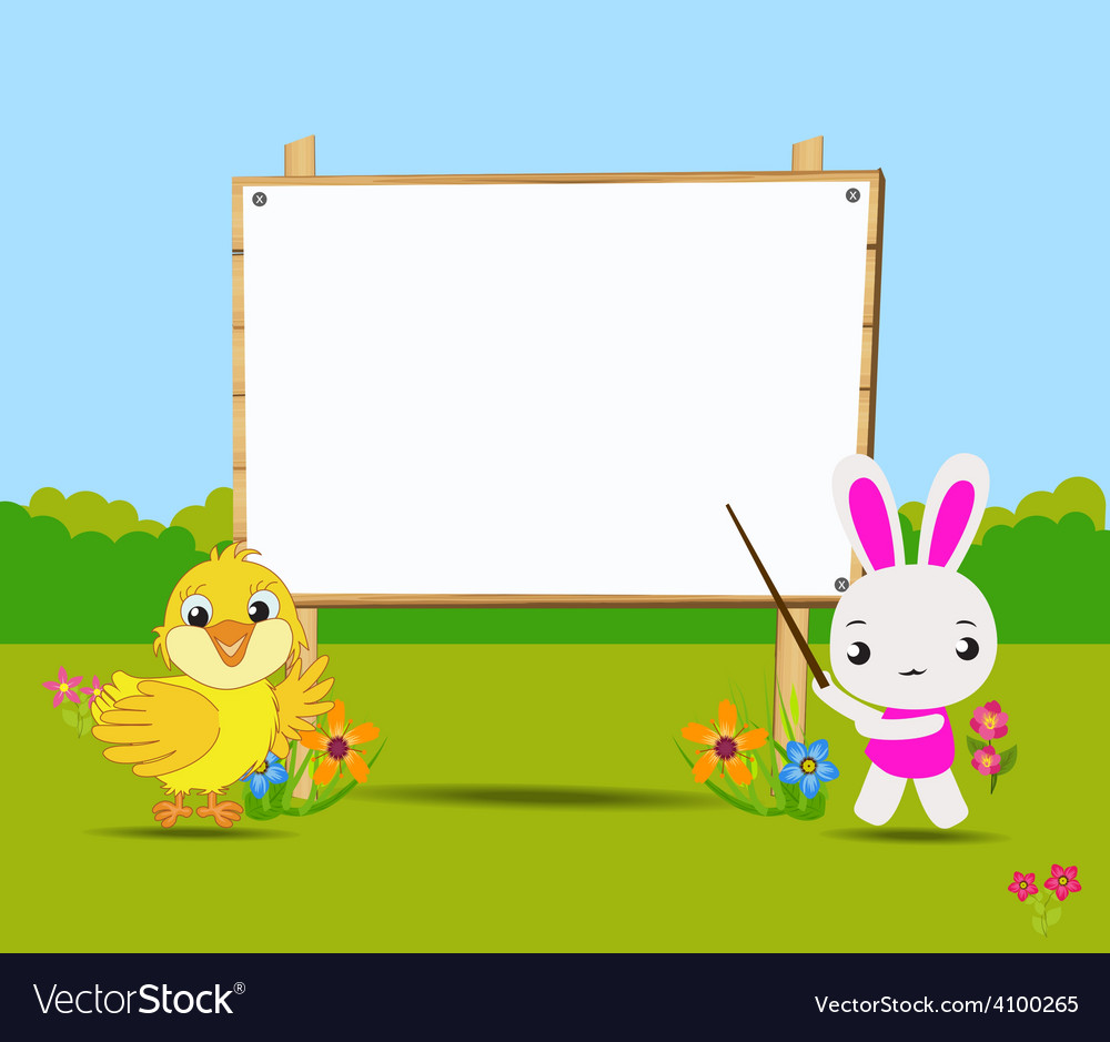 Happy easter card with chick and rabbits nearby vector | Price: 1 Credit (USD $1)