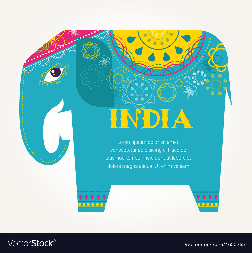 India - background with patterned elephant vector | Price: 1 Credit (USD $1)