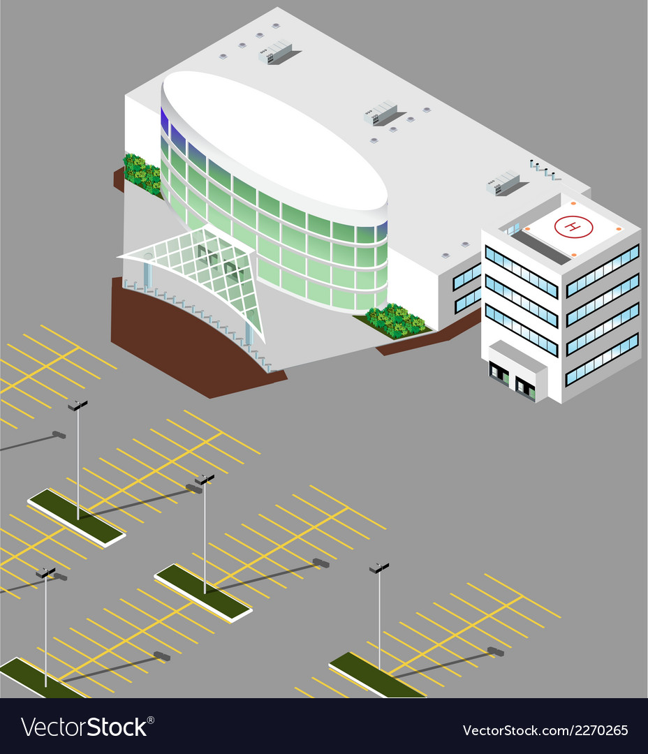 Isometric hospital buildings vector | Price: 1 Credit (USD $1)