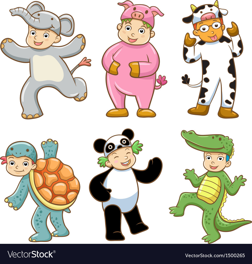 Kid with animals costume vector | Price: 3 Credit (USD $3)