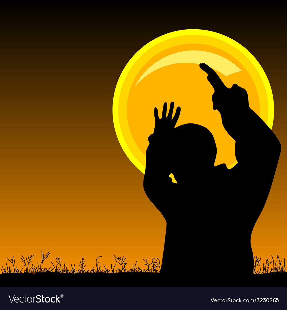 Man on the moonlight vector | Price: 1 Credit (USD $1)