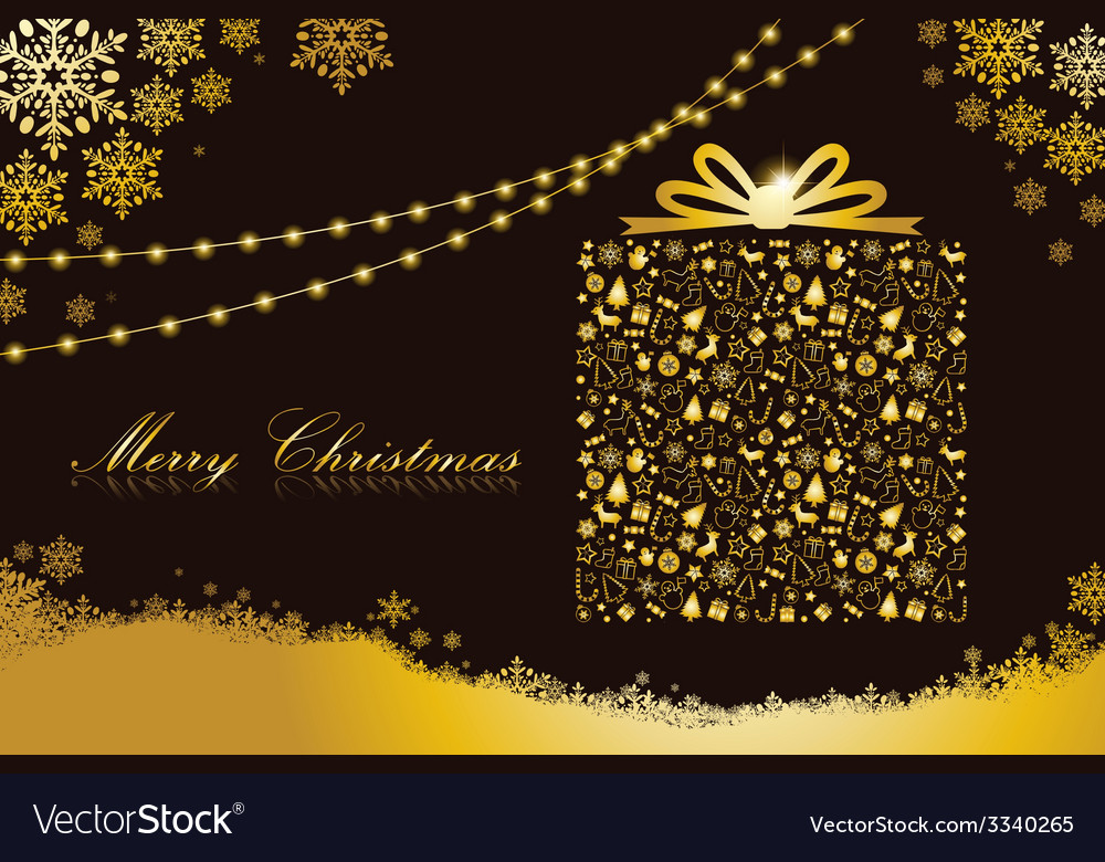 Merry christmas gold gift box shape vector | Price: 1 Credit (USD $1)