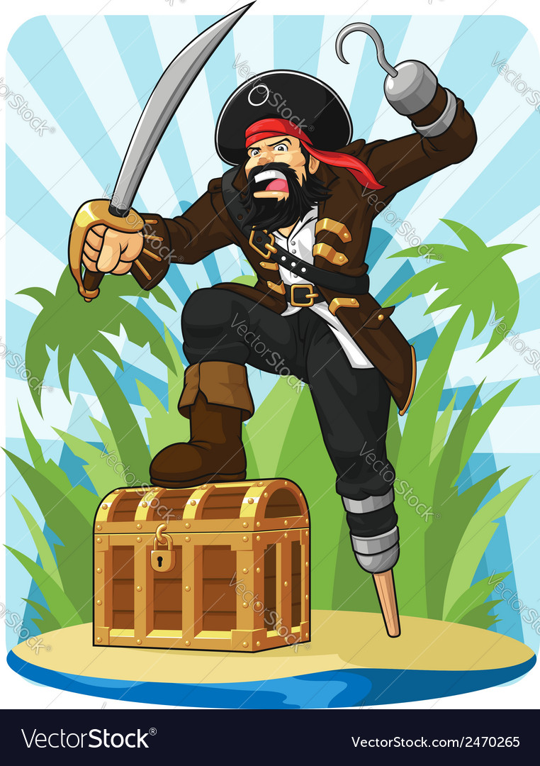 Pirate with his treasure chest vector | Price: 1 Credit (USD $1)