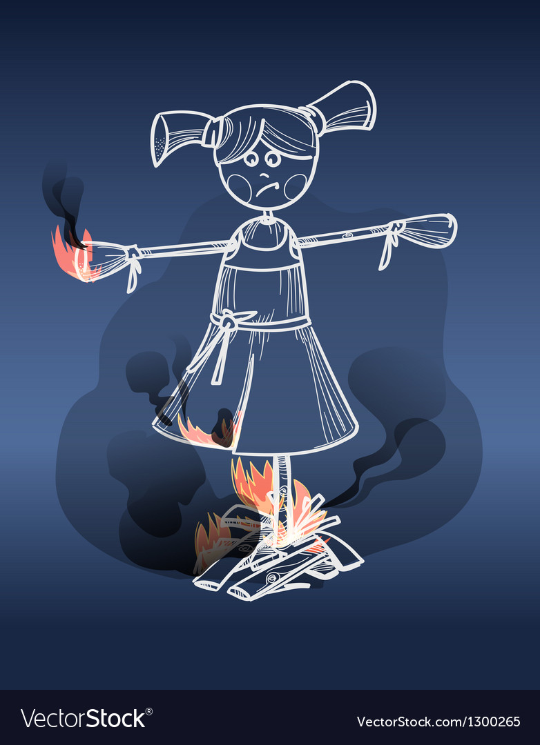 Scarecrow on fire vector | Price: 1 Credit (USD $1)