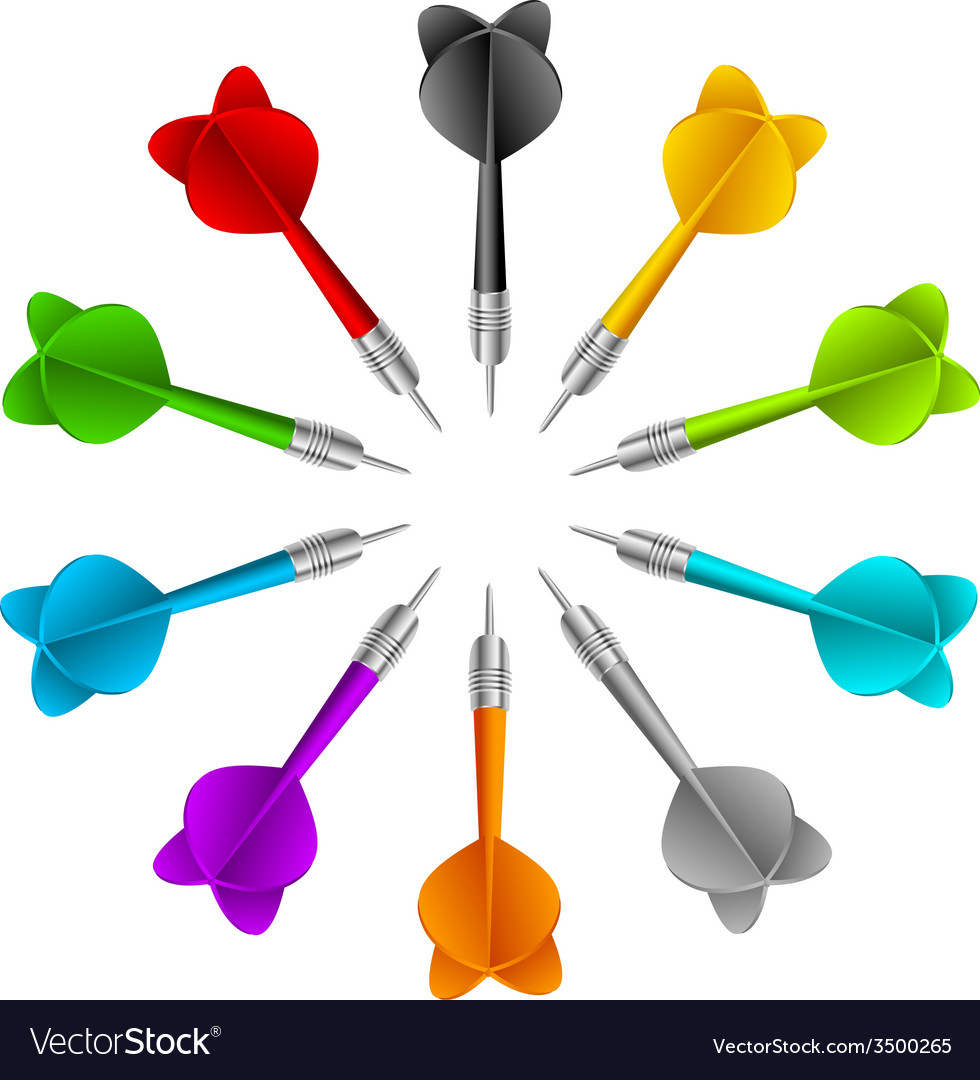 Set of darts color game concept vector | Price: 1 Credit (USD $1)