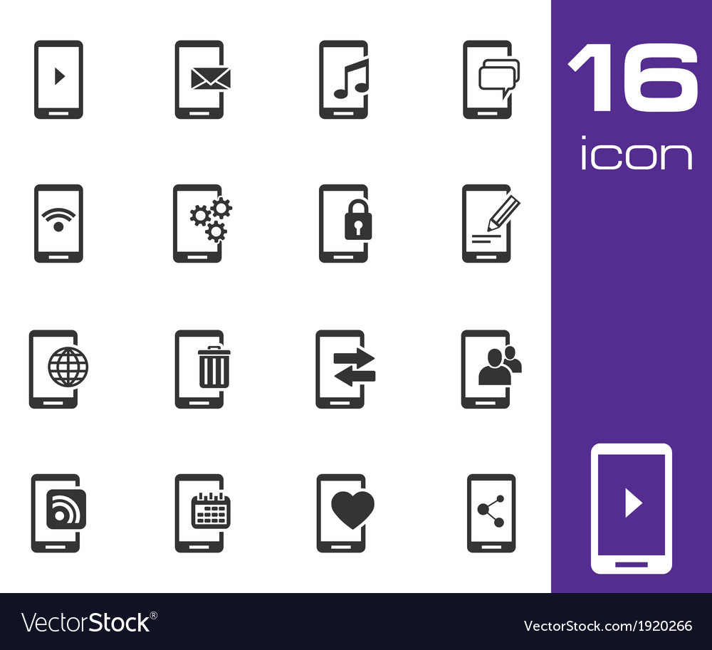 Black mobile phone icon set vector | Price: 1 Credit (USD $1)