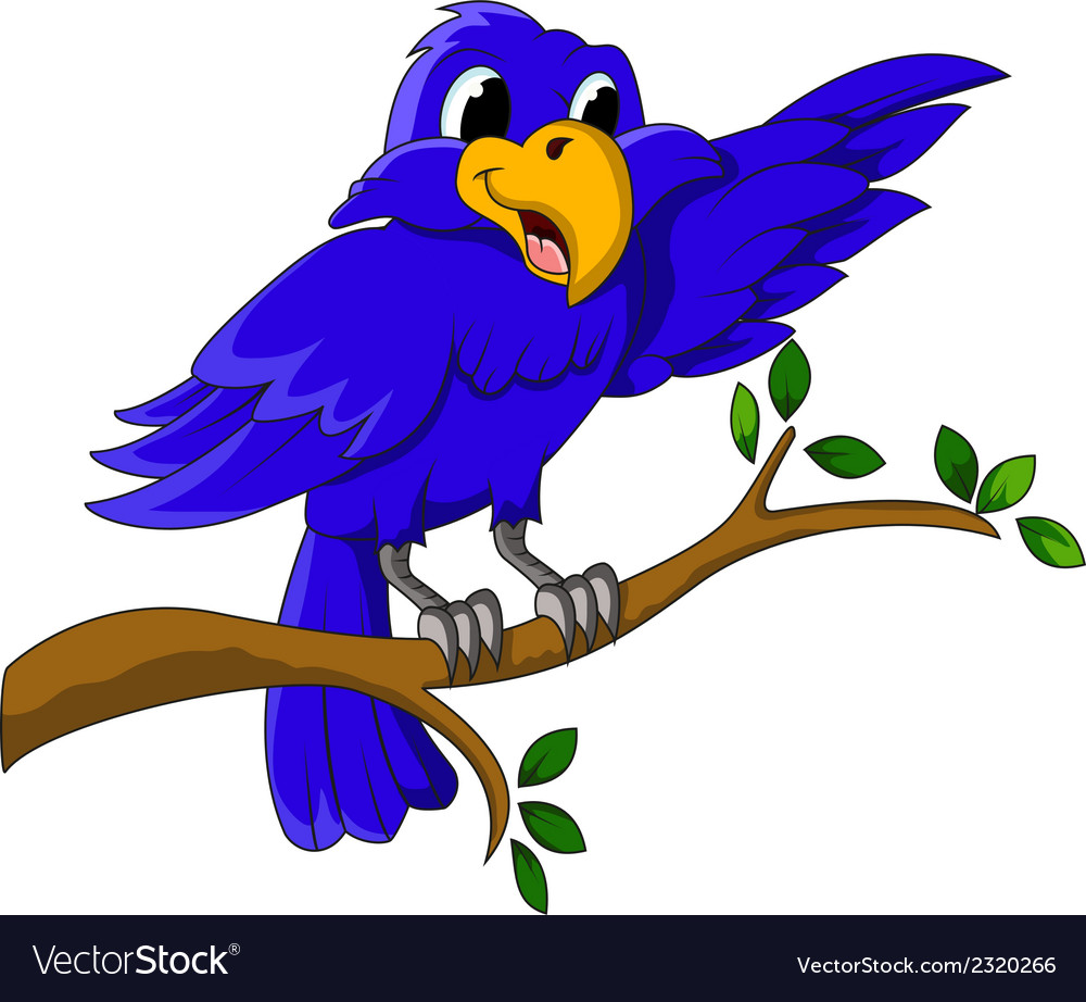 Blue bird cartoon character sitting on a branch vector | Price: 1 Credit (USD $1)