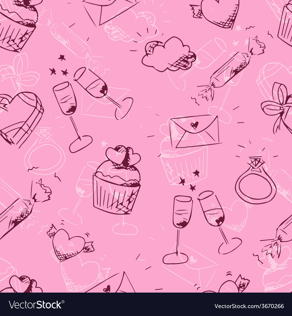 Cute pink sketchy valentines day seamless pattern vector | Price: 1 Credit (USD $1)