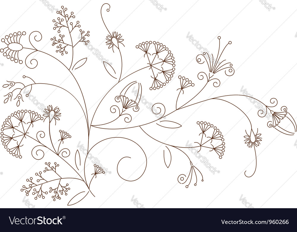 Floral pattern plant ornament vector | Price: 1 Credit (USD $1)