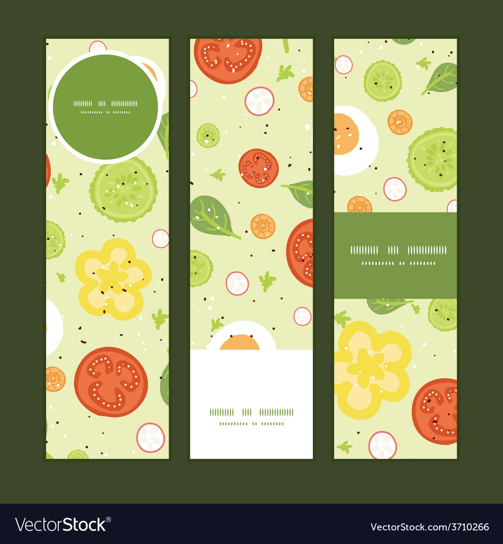 Fresh salad vertical banners set pattern vector | Price: 1 Credit (USD $1)