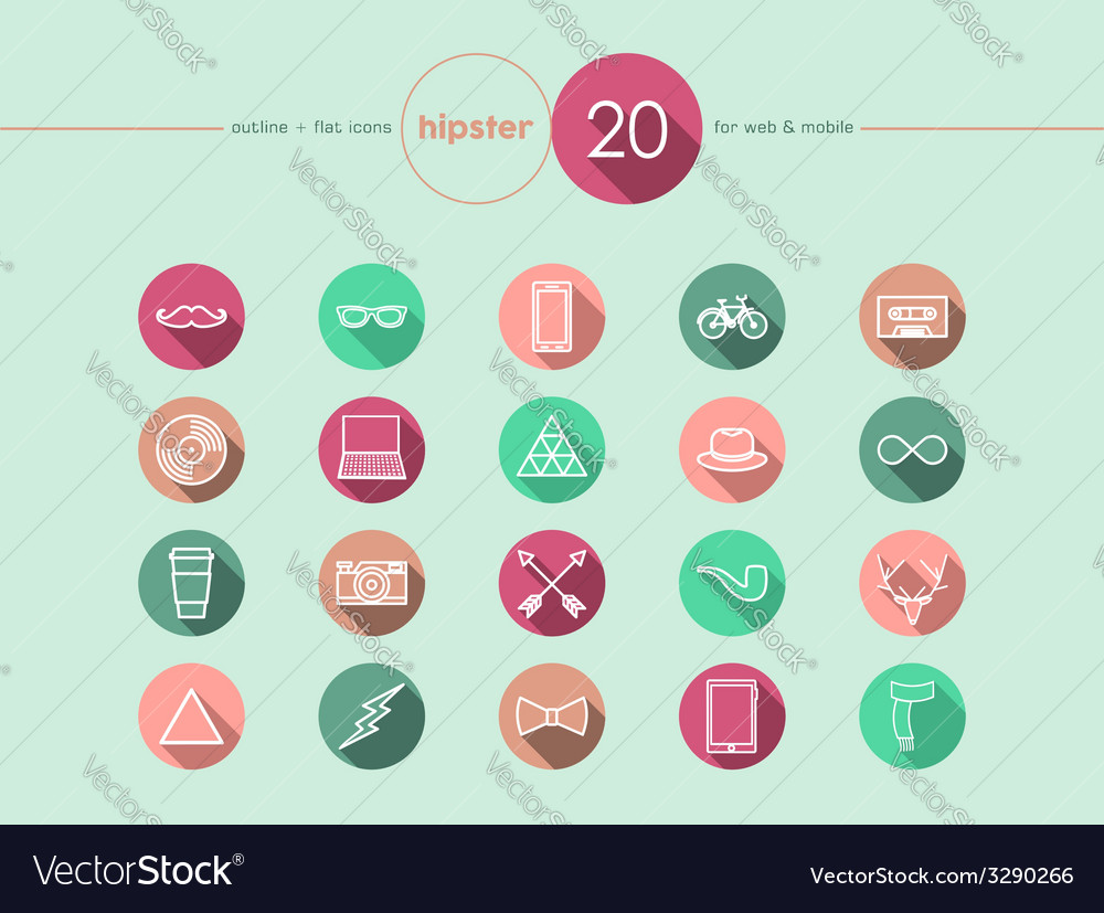Hipster flat icons set vector | Price: 1 Credit (USD $1)
