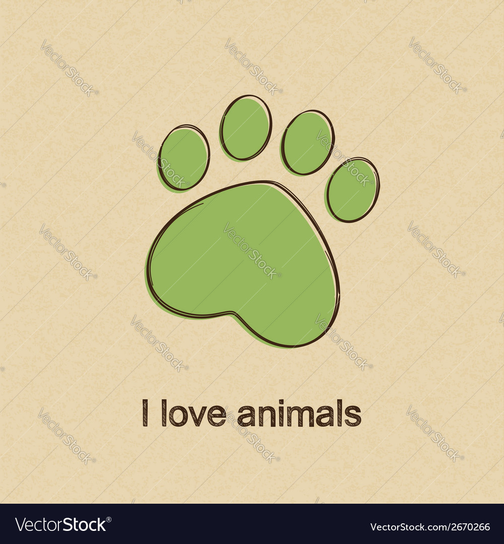 I love animals vector | Price: 1 Credit (USD $1)