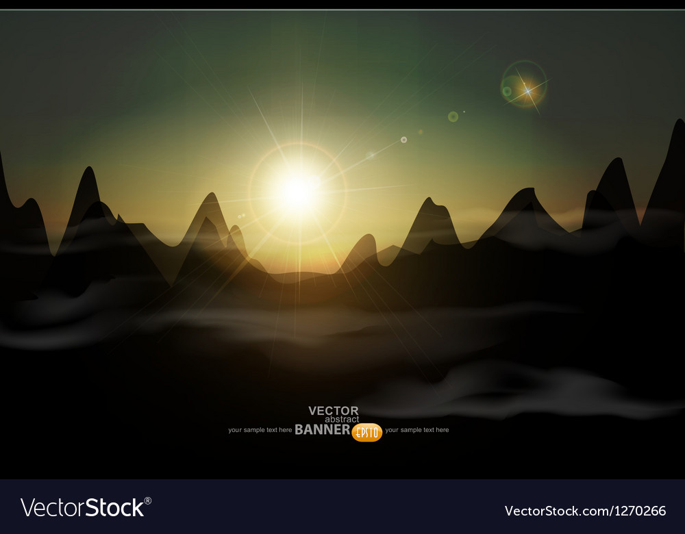 Landscape with a rising sun and mountains vector | Price: 1 Credit (USD $1)