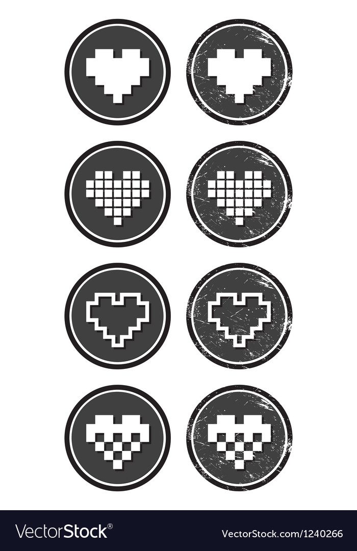 Love pixelated hearts retro labels set - vector | Price: 1 Credit (USD $1)