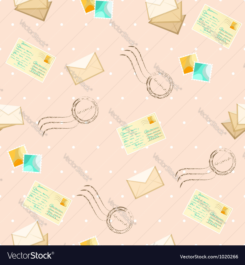 Seamless pattern with postcards and envelope vector   Price: 1 Credit (USD $1)