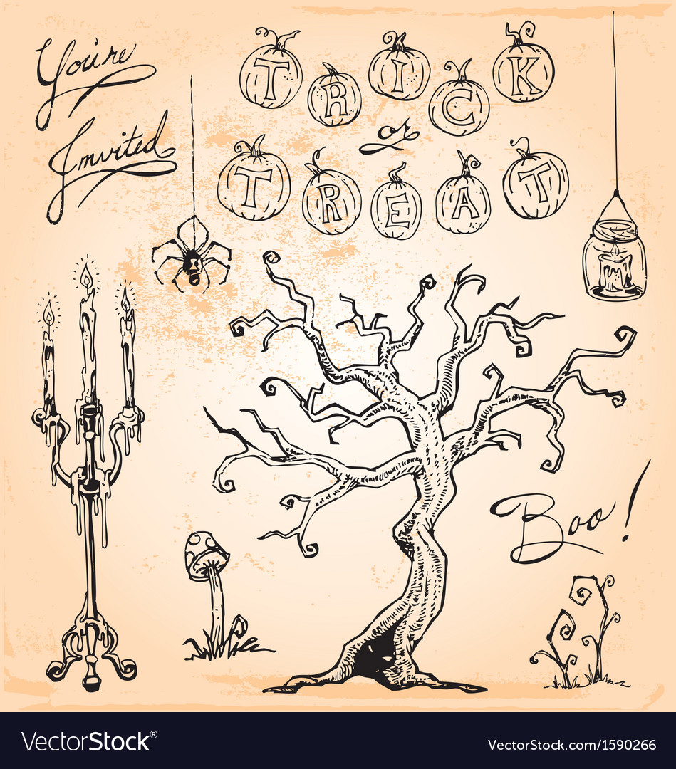 Vintage halloween hand drawn set four vector | Price: 1 Credit (USD $1)