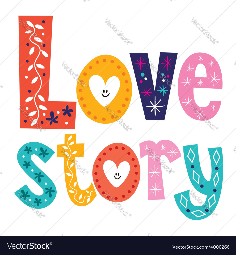 Words love story retro typography lettering vector | Price: 1 Credit (USD $1)
