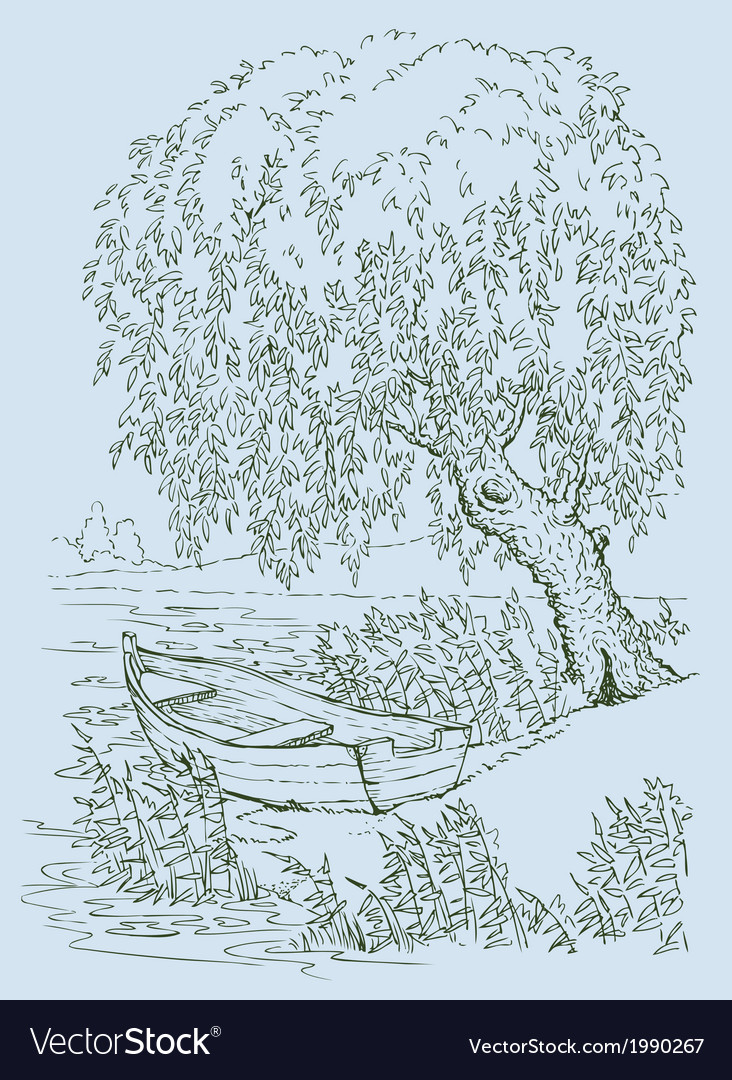 Boat on lake under willow vector | Price: 1 Credit (USD $1)
