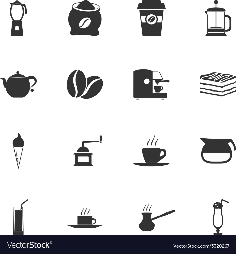 Coffe black and white flat icons set vector | Price: 1 Credit (USD $1)
