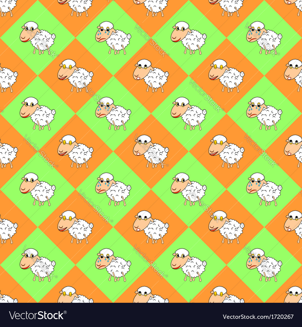 Diamond children background with funny sheep vector | Price: 1 Credit (USD $1)
