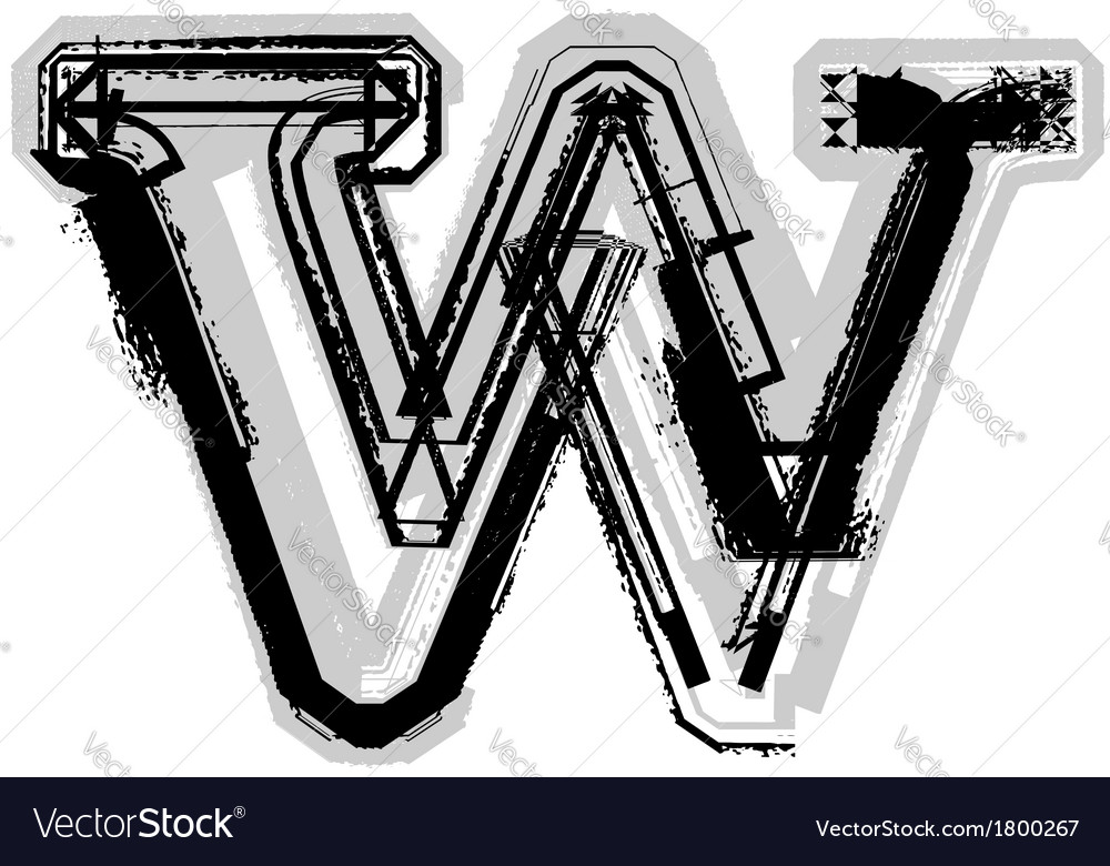 Grunge font letter w vector | Price: 1 Credit (USD $1)
