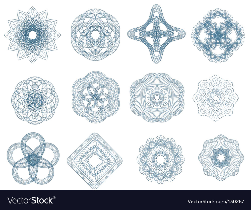 Guilloche elements vector | Price: 1 Credit (USD $1)