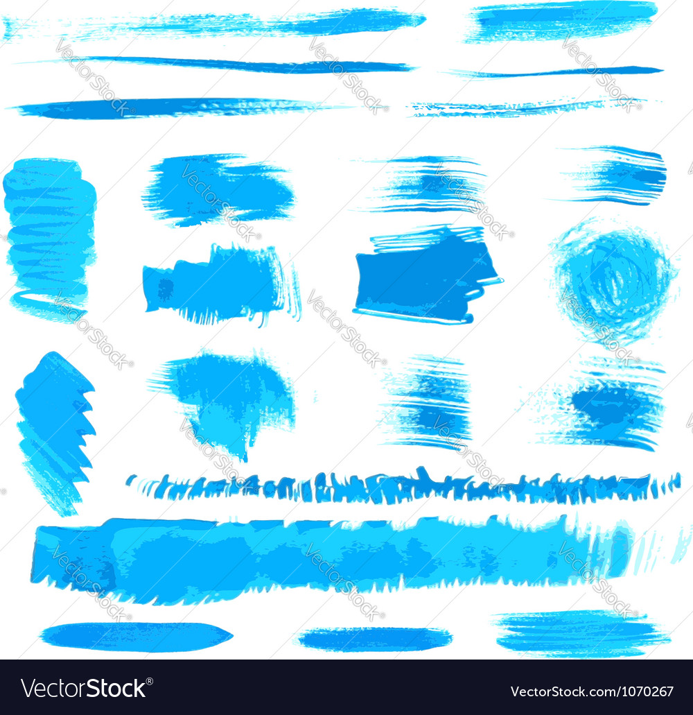 Handmade blue strokes set painted by brush vector | Price: 1 Credit (USD $1)