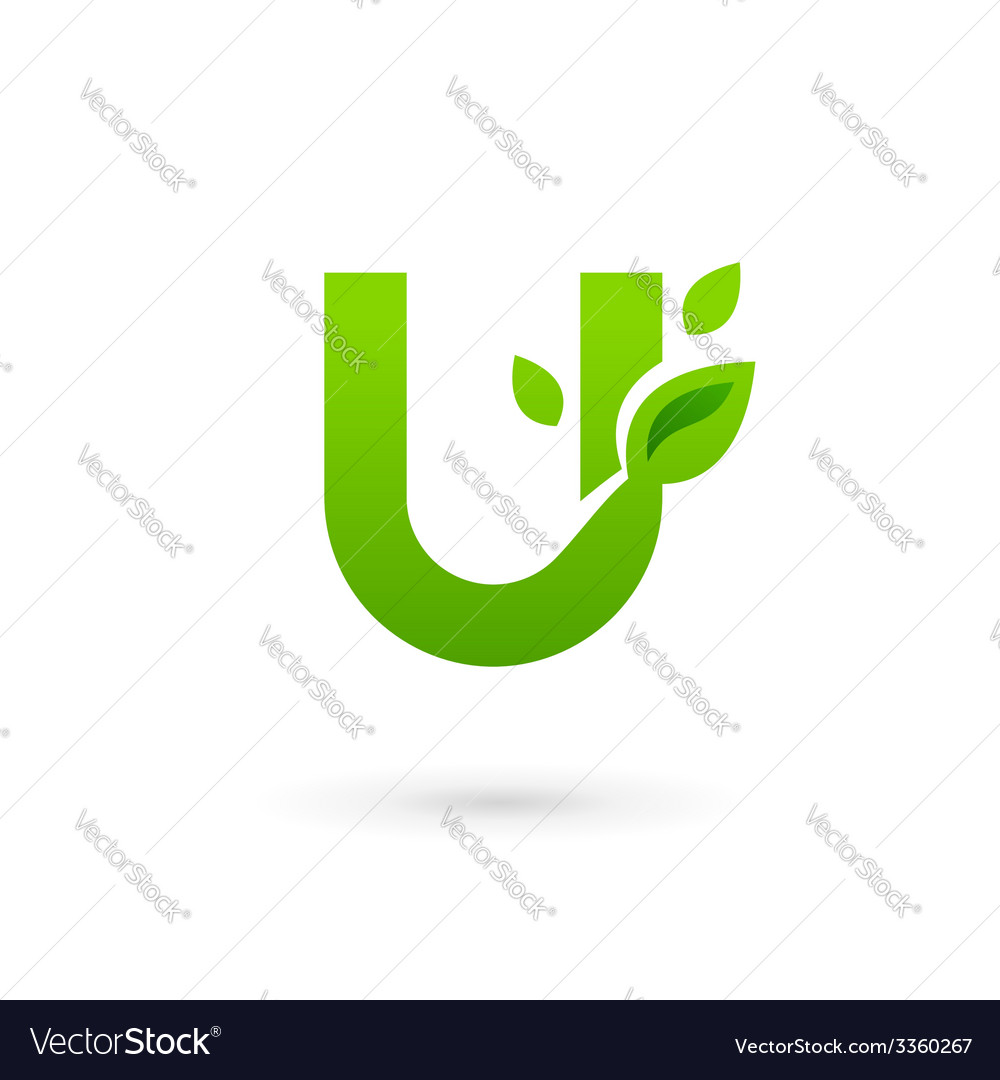 Letter u eco leaves logo icon design template vector