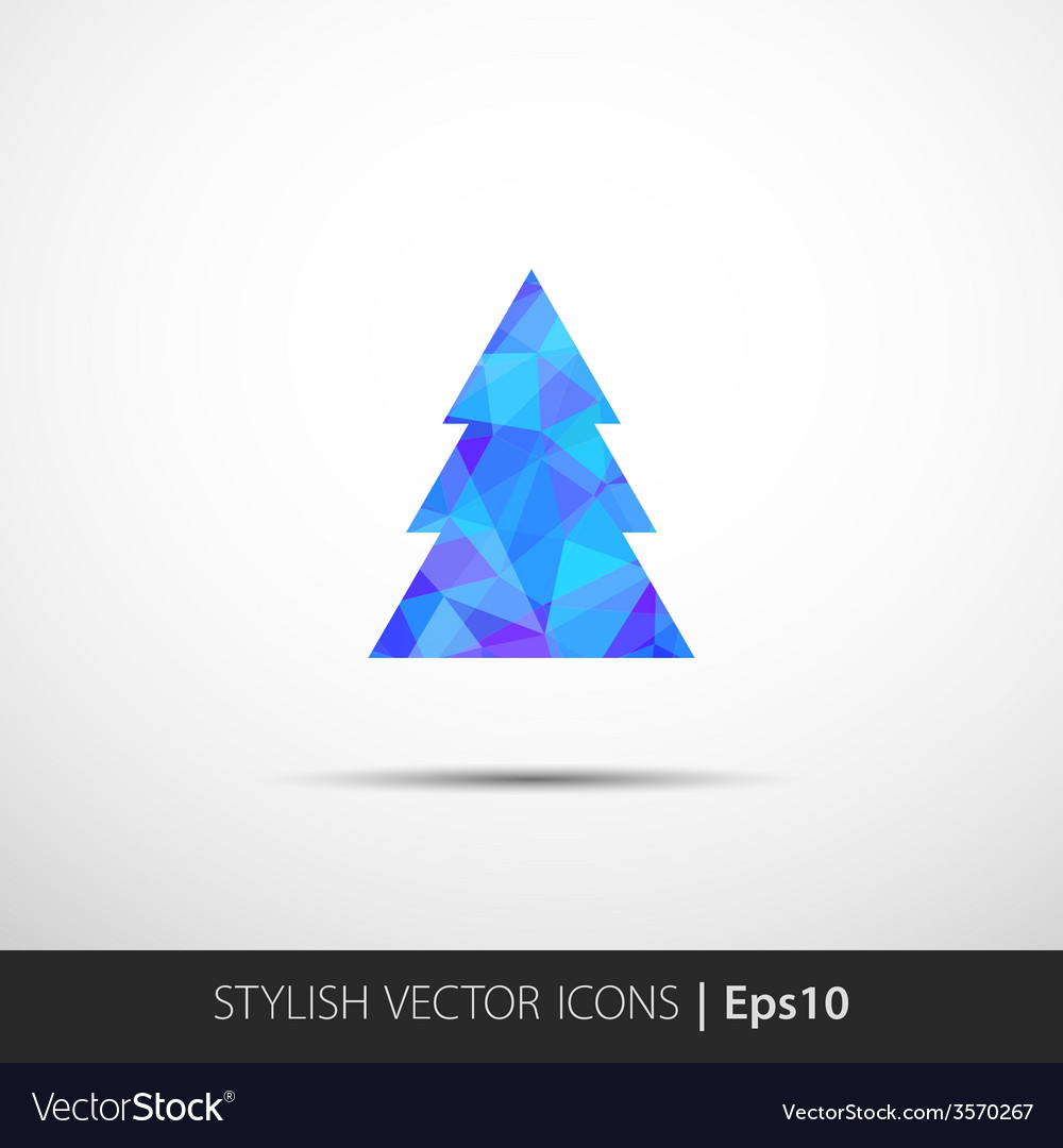 Polygon christmas tree icon vector | Price: 1 Credit (USD $1)