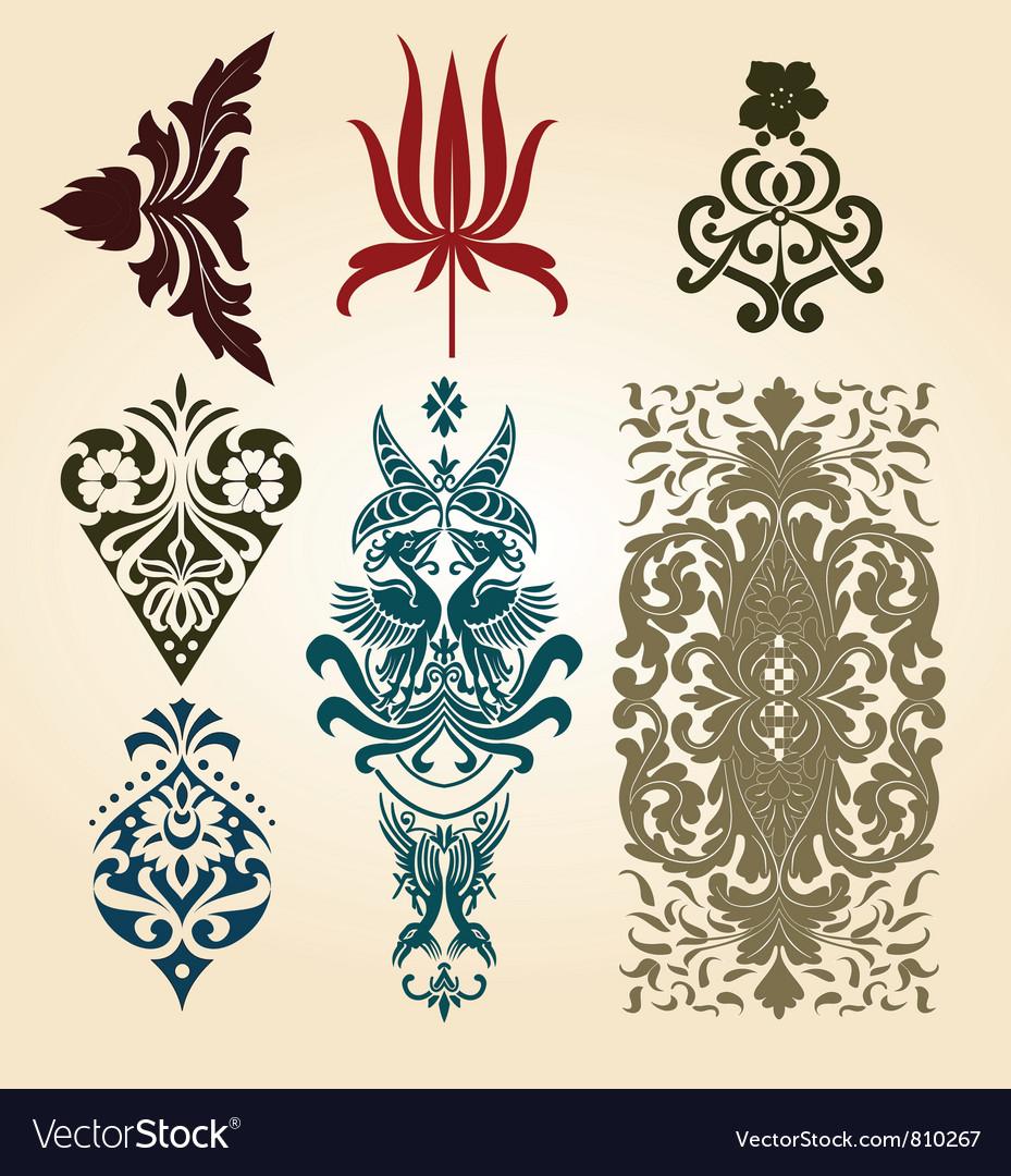 Retro floral ornaments vector | Price: 1 Credit (USD $1)