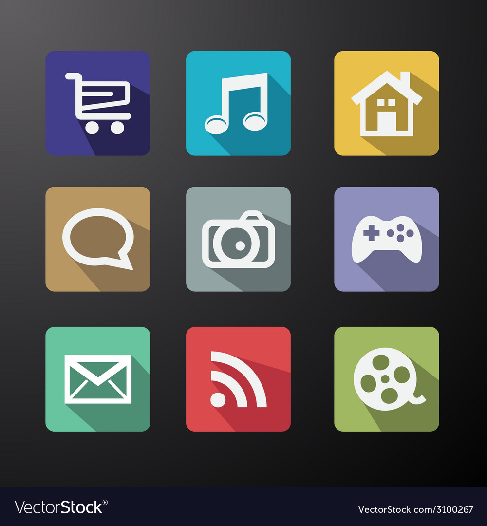 Web icons set in flat design with long shadows vector | Price: 1 Credit (USD $1)
