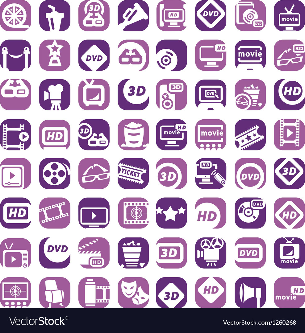 Big color cinema icons set vector | Price: 1 Credit (USD $1)