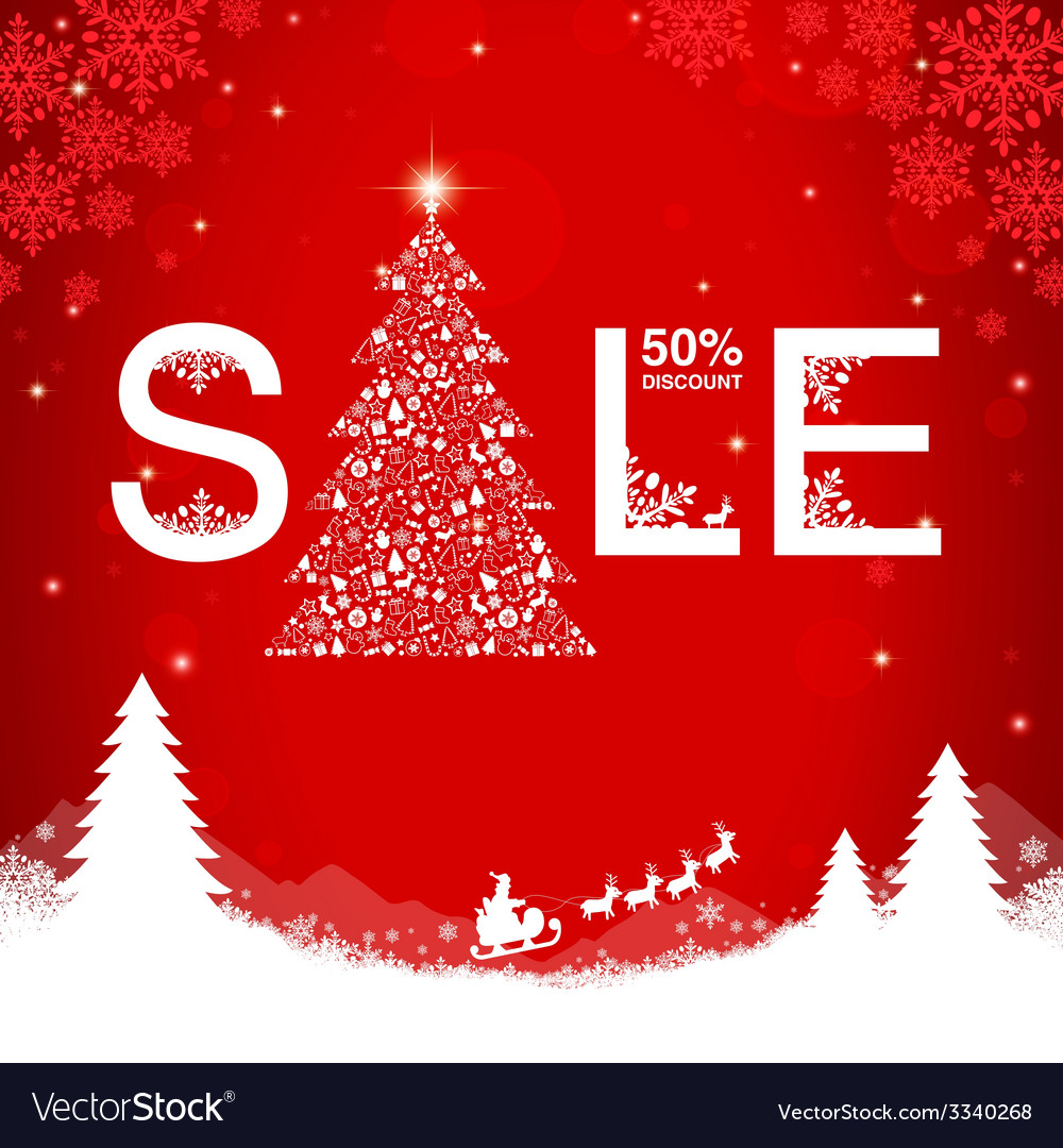 Christmas sale discount vector | Price: 1 Credit (USD $1)
