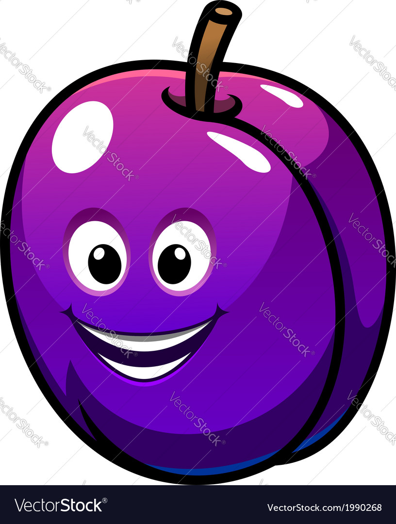 Colorful healthy fresh purple plum fruit vector | Price: 1 Credit (USD $1)