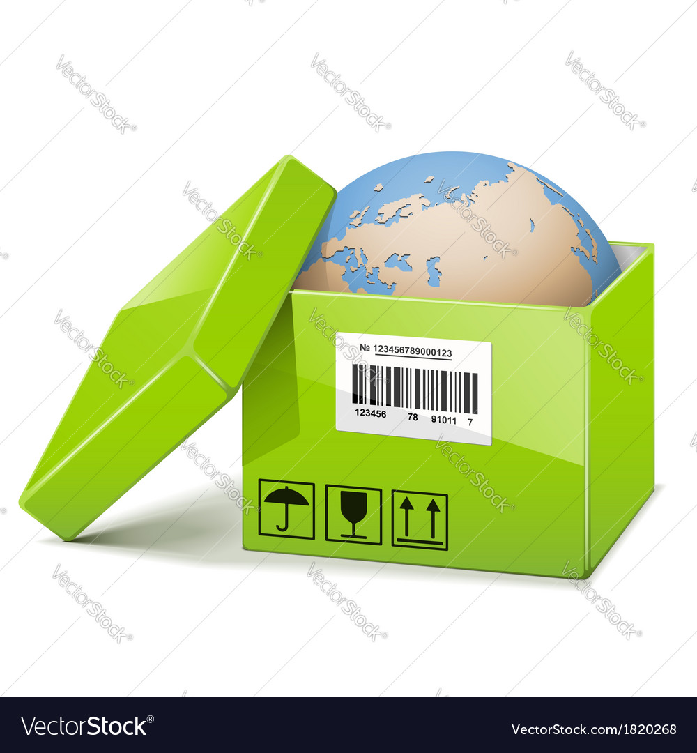 Globe in green box vector | Price: 3 Credit (USD $3)