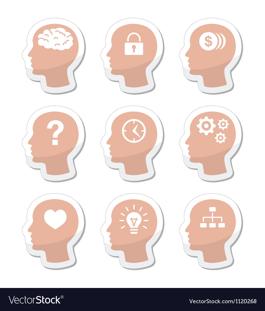 Head brain labels set vector | Price: 1 Credit (USD $1)