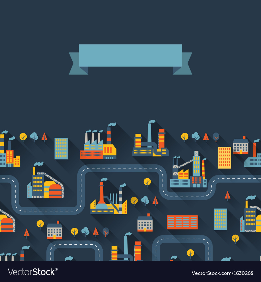 Industrial factory buildings background vector | Price: 1 Credit (USD $1)