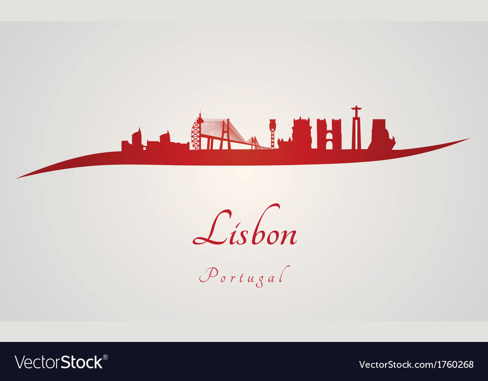 Lisbon skyline in red vector | Price: 1 Credit (USD $1)