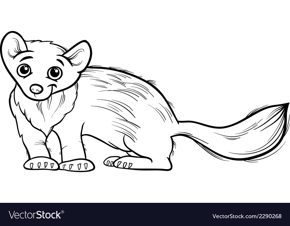Marten animal cartoon coloring book vector | Price: 1 Credit (USD $1)