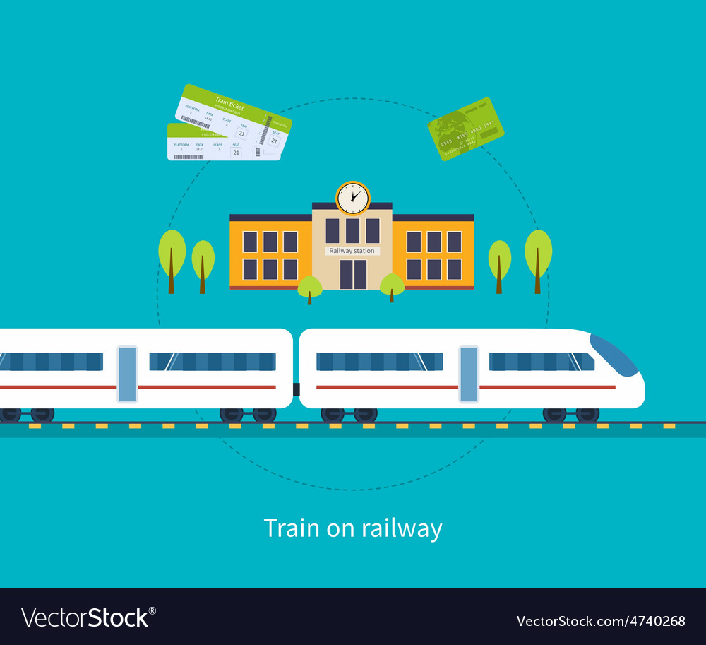 Railway station concept train on railway vector | Price: 1 Credit (USD $1)