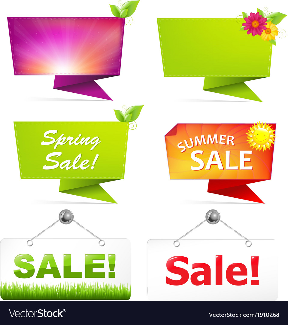 Sale origami banners vector   Price: 1 Credit (USD $1)